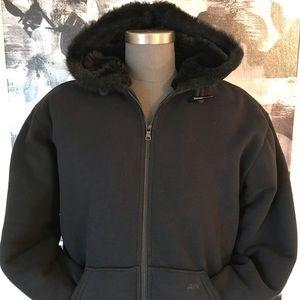 Armani Exchange Toggle Fur Lined Hoodie Jacket